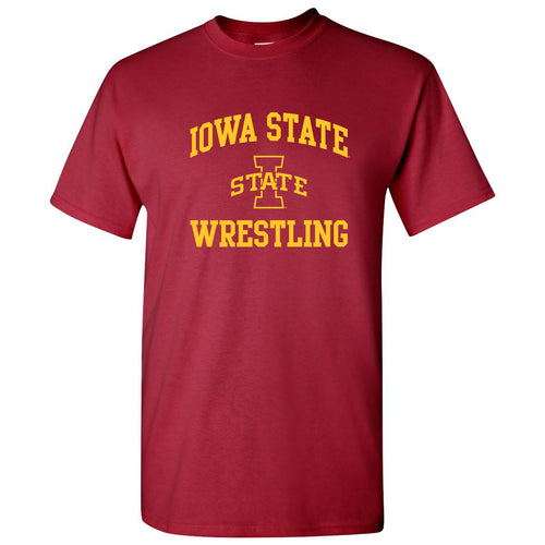 Iowa State University Cyclones Arch Logo Wrestling Short Sleeve T Shirt - Cardinal