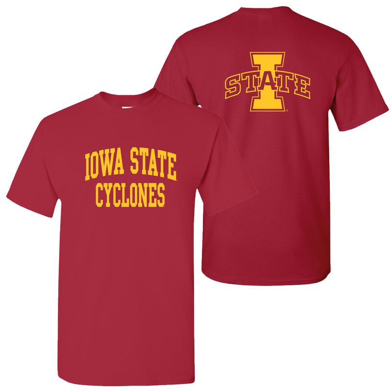 Iowa State University Cyclones  Front Back Print Short Sleeve T Shirt - Cardinal