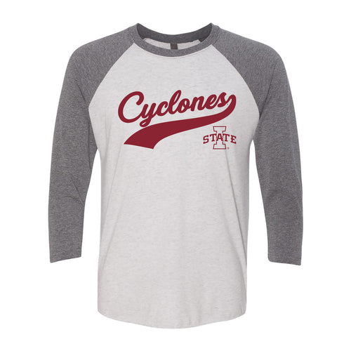 Iowa State University Cyclones Baseball Jersey Script Next Level Raglan - Heather White/Premium Heather