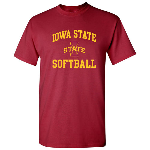 Iowa State University Cyclones Arch Logo Softball Short Sleeve T Shirt - Cardinal