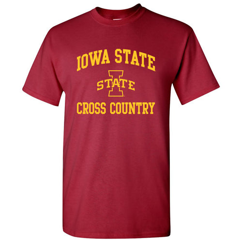 Iowa State University Cyclones Arch Logo Cross Country Short Sleeve T Shirt - Cardinal