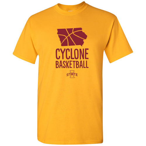 Iowa State University Cyclones Basketball Brush State Short Sleeve T Shirt - Gold