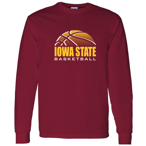 Iowa State University Cyclones Basketball Shadow Long Sleeve T Shirt - Cardinal