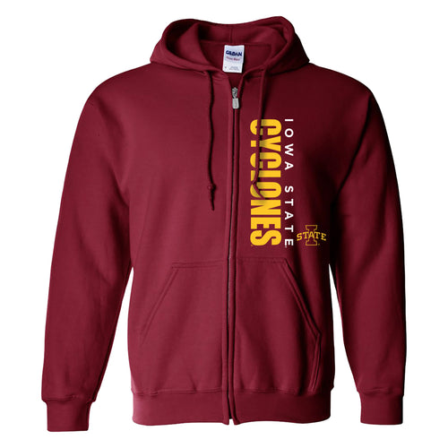 Iowa State University Cyclones Vertical Block Zip Hoodie - Cardinal