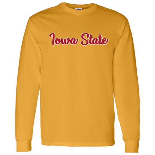 Iowa State University Cyclones Basic Script Basic Cotton Long Sleeve T Shirt - Gold