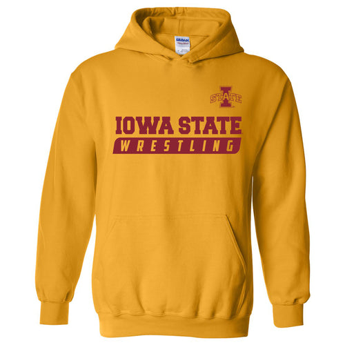 Iowa State University Cyclones Wrestling Slant Heavy Blend Hoodie - Gold
