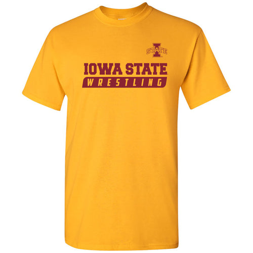Iowa State University Cyclones Wrestling Slant Basic Cotton Short Sleeve T Shirt - Gold