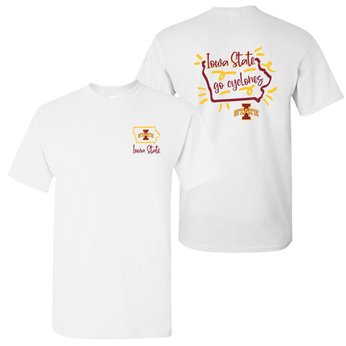 Iowa State University Cyclones Playful Sketch Basic Cotton Short Sleeve T Shirt - White