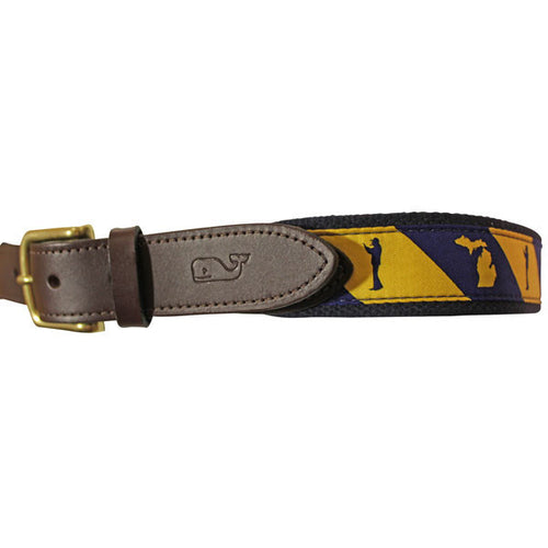 Bo Schembechler Signature/State Outline Vineyard Vines Belt - Navy/Maize