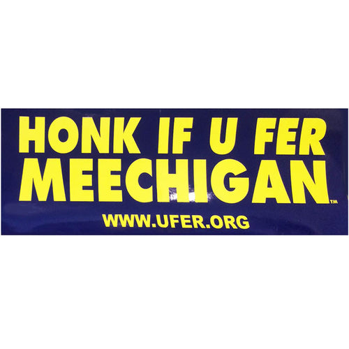 Ufer MEECHIGAN Bumper Sticker - Navy