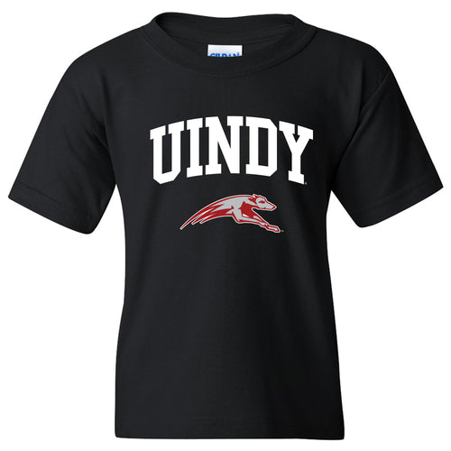 University of Indianapolis Greyhounds Arch Logo Cotton Youth T-Shirt - Black