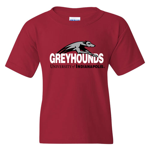University of Indianapolis Greyhounds Primary Logo Cotton Youth T-Shirt - Cardinal