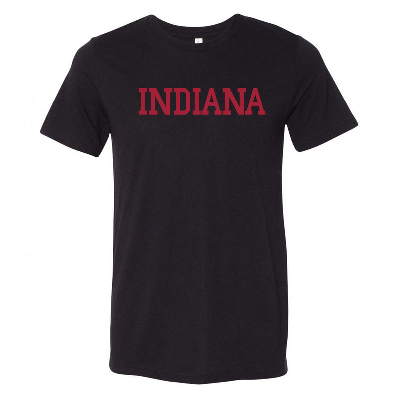 Indiana University Hoosiers Basic Block Canvas Triblend T Shirt - Solid Black Triblend