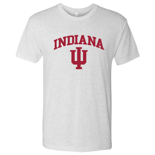 Indiana University Hoosiers Arch Logo Next Level Triblend Short Sleeve T-Shirt - Heather White