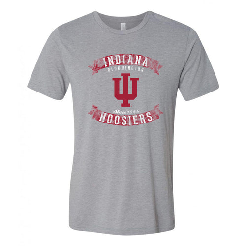 Indiana University Hoosiers Vintage Banners Football Canvas Triblend Short Sleeve T-Shirt - Athletic Grey Triblend