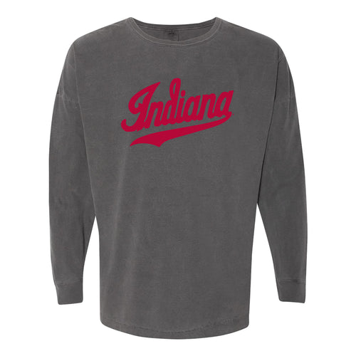 Script Indiana Comfort Colors Drop Shoulder Long Sleeve T-Shirt - Pepper