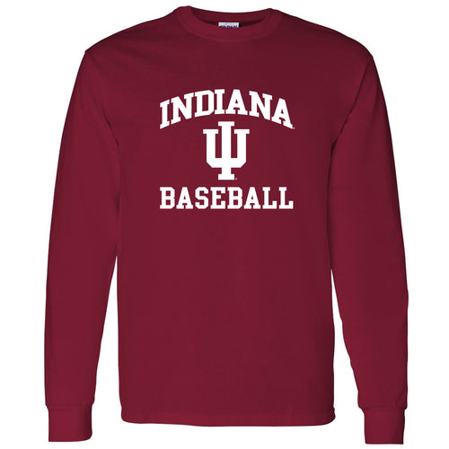 Indiana University Hoosiers Arch Logo Baseball Long Sleeve T Shirt - Cardinal