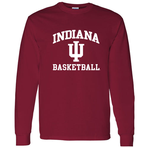 Indiana University Hoosiers Arch Logo Basketball Long Sleeve T-Shirt - Cardinal