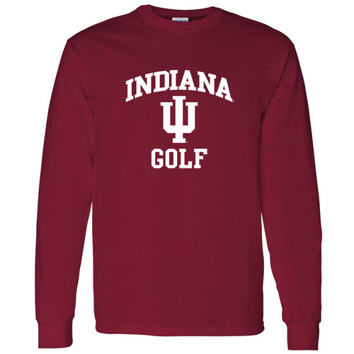 Indiana University Hoosiers Arch Logo Golf Long Sleeve T Shirt - Cardinal