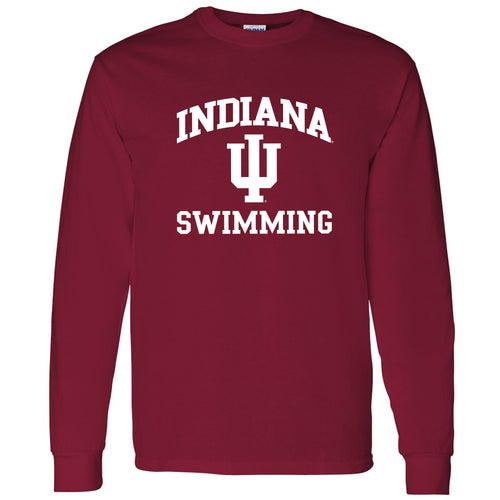 Indiana University Hoosiers Arch Logo Swimming Long Sleeve T Shirt - Cardinal