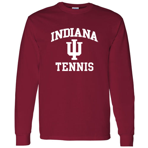 Indiana University Hoosiers Arch Logo Tennis Long Sleeve T Shirt - Cardinal