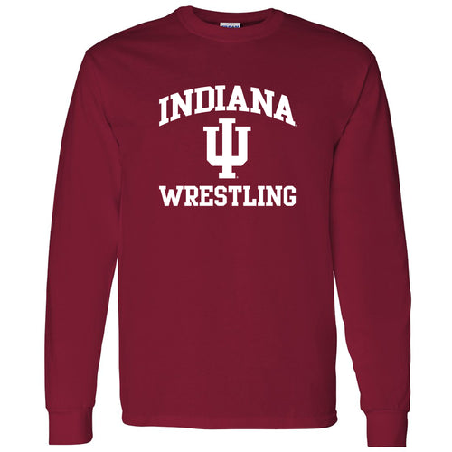 Indiana University Hoosiers Arch Logo Wrestling Long Sleeve T Shirt - Cardinal