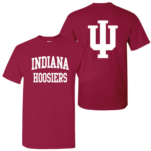 Indiana University Hoosiers Front Back Print T Shirt - Cardinal