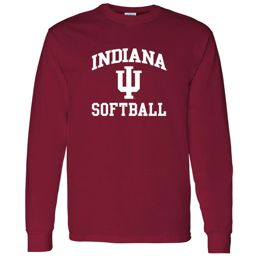 Indiana University Hoosiers Arch Logo Softball Long Sleeve T Shirt - Cardinal