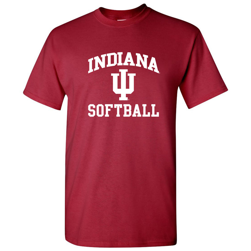 Indiana University Hoosiers Arch Logo Softball Short Sleeve T Shirt - Cardinal