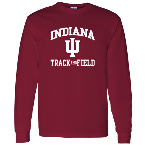 Indiana University Hoosiers Arch Logo Track & Field Long Sleeve T Shirt - Cardinal