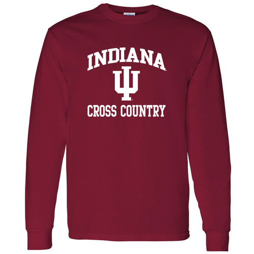 Indiana University Hoosiers Arch Logo Cross Country Long Sleeve T Shirt - Cardinal