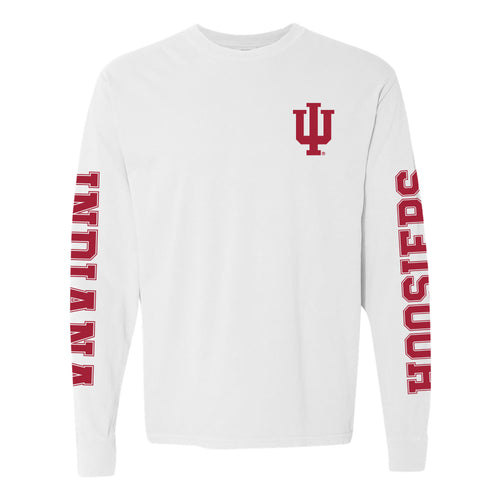 Indiana University Hoosiers Double Sleeve Comfort Colors Long Sleeve T-Shirt - White