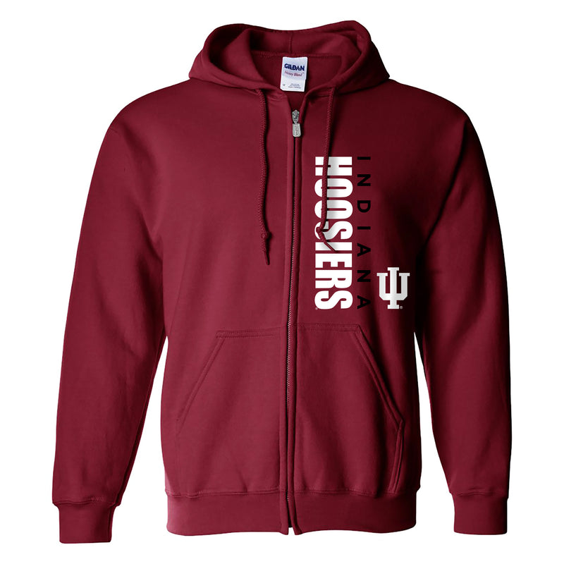 Indiana University Hoosiers Vertical Block Left Chest Full Zip Hoodie - Cardinal