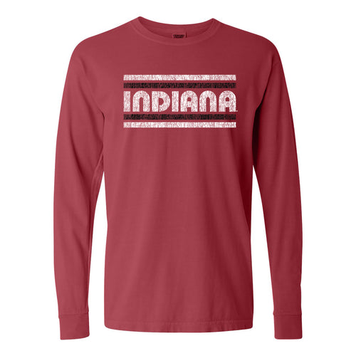 Indiana University Hoosiers Retro Underline Comfort Colors Long Sleeve - Crimson