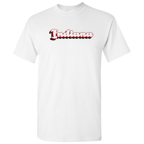 Indiana Hoosiers Retro Bubble Script T Shirt - White