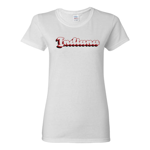 Indiana University Hoosiers Retro Bubble Script Womens Short Sleeve T Shirt - White