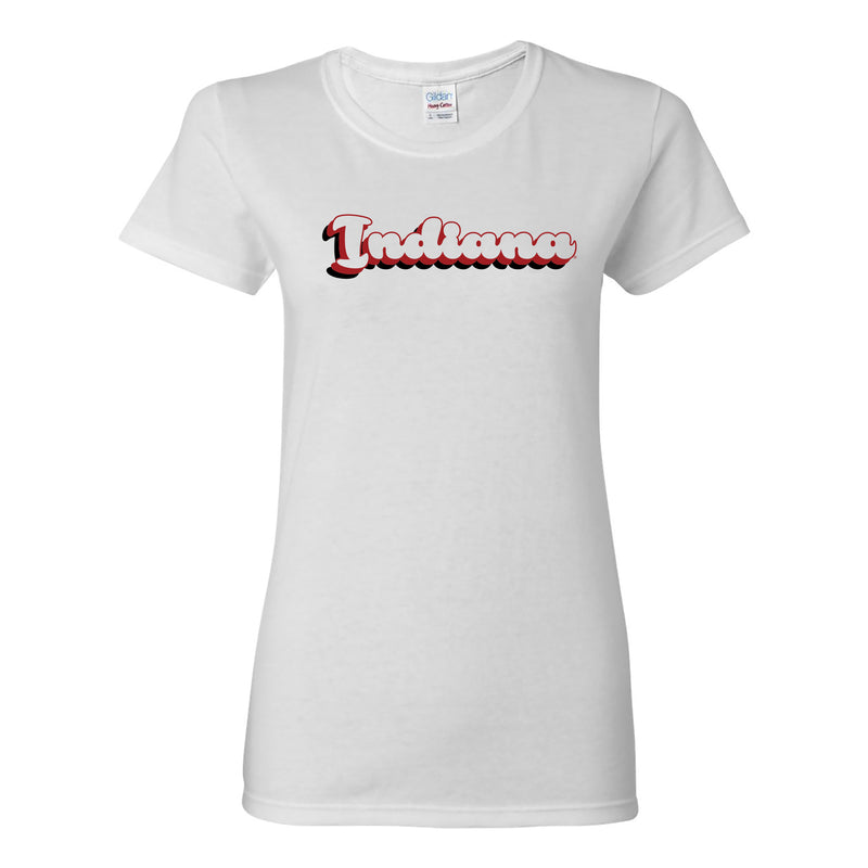 Indiana Hoosiers Retro Bubble Script Womens T Shirt - White