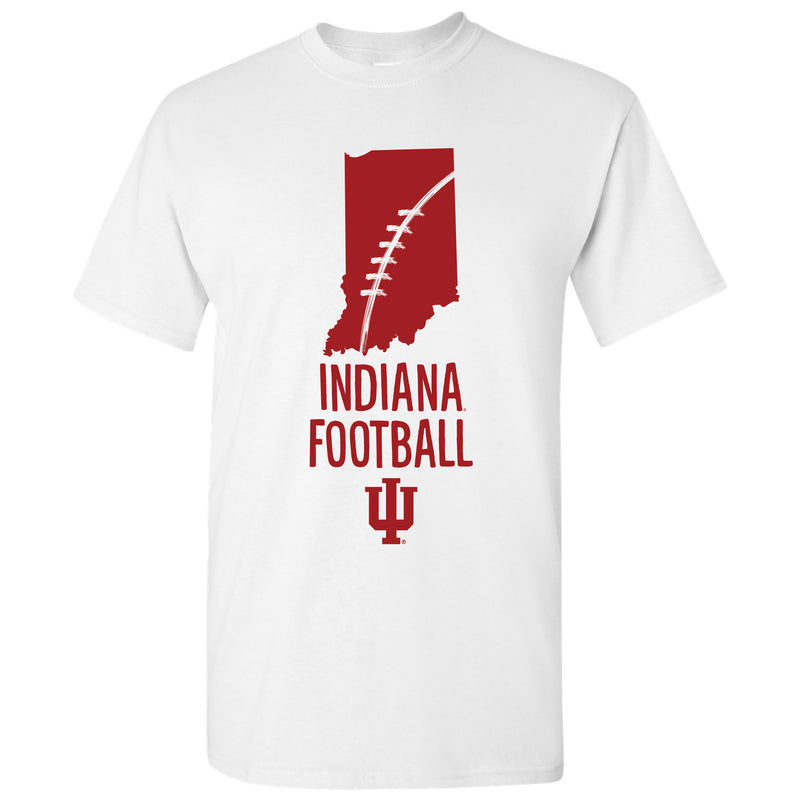 Indiana University Hoosiers Football Brush State Basic Cotton Short Sleeve T-Shirt - White