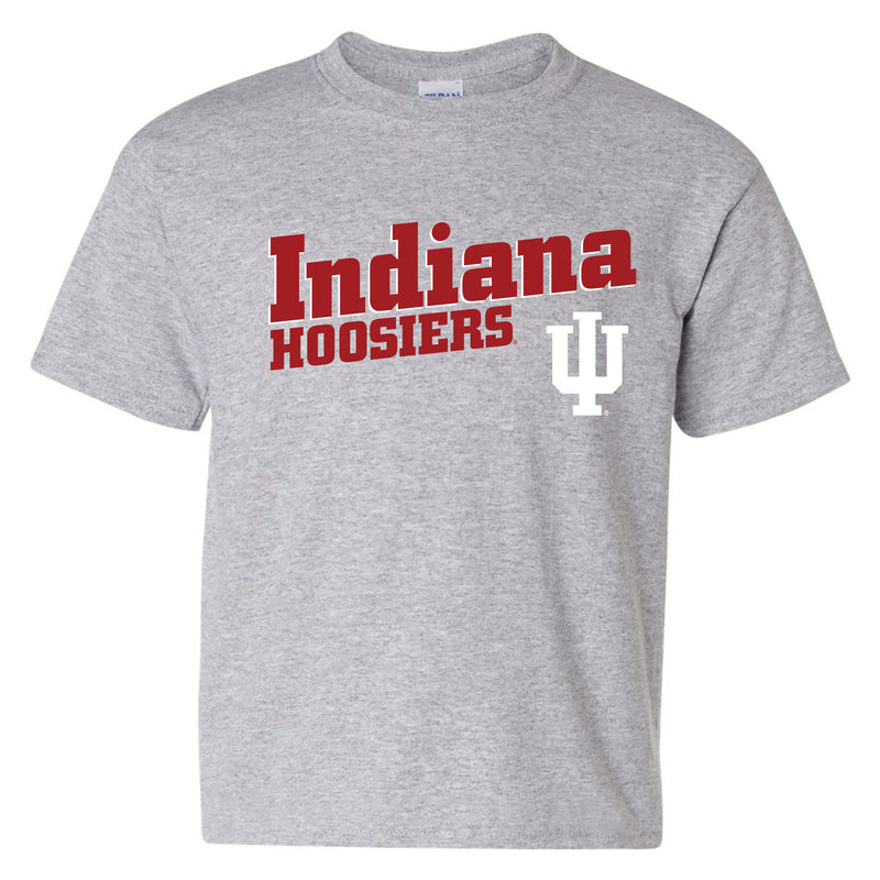 Incline Block Indiana Hoosiers Basic Cotton Youth Short Sleeve T-Shirt - Sport Grey