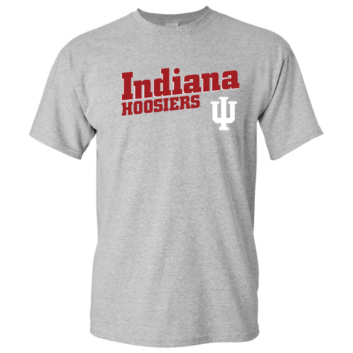 Indiana University Hoosiers Incline Block Basic Cotton Short Sleeve T-Shirt - Sport Grey