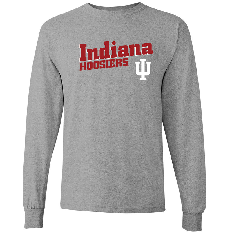 Indiana University Hoosiers Incline Block Basic Cotton Long Sleeve T-Shirt - Sport Grey