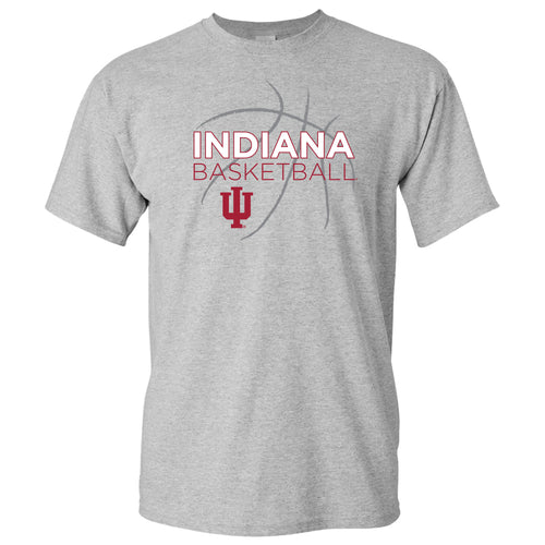 Indiana University Hoosiers Basketball Sketch Basic Cotton Short Sleeve T Shirt - Sport Grey