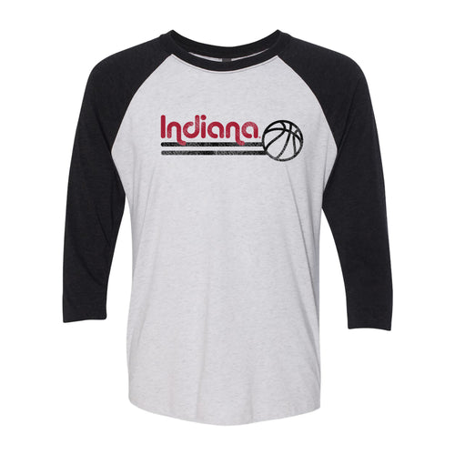 Indiana University Hoosiers Basketball Bubble Next Level Raglan T Shirt - Heather White/Black