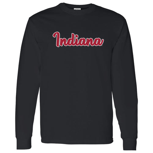 Indiana University Hoosiers Basic Script Cotton Long Sleeve T Shirt - Black