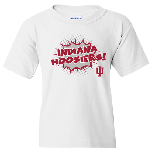 Indiana University Hoosiers Comic Blast Youth Basic Cotton Short Sleeve T-Shirt - White