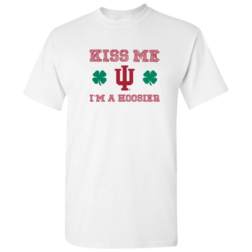 Indiana University Hoosiers Kiss Me I'm a Hoosier Basic Cotton Short Sleeve T Shirt - White
