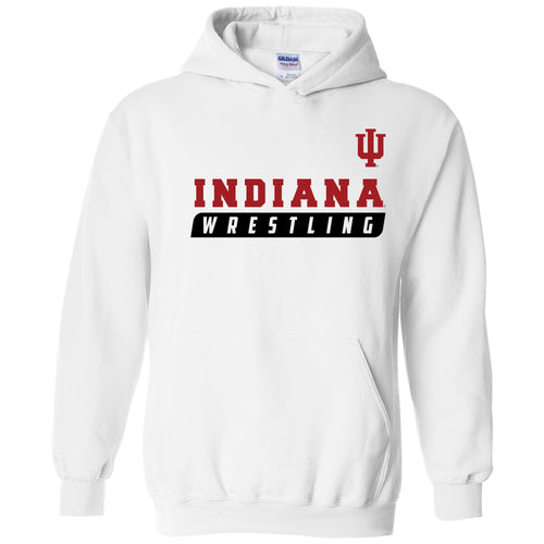 Indiana University Hoosiers Wrestling Slant Heavy Blend Hoodie - White