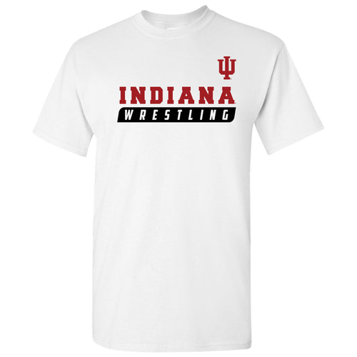 Indiana University Hoosiers Wrestling Slant Basic Cotton Short Sleeve T Shirt - White