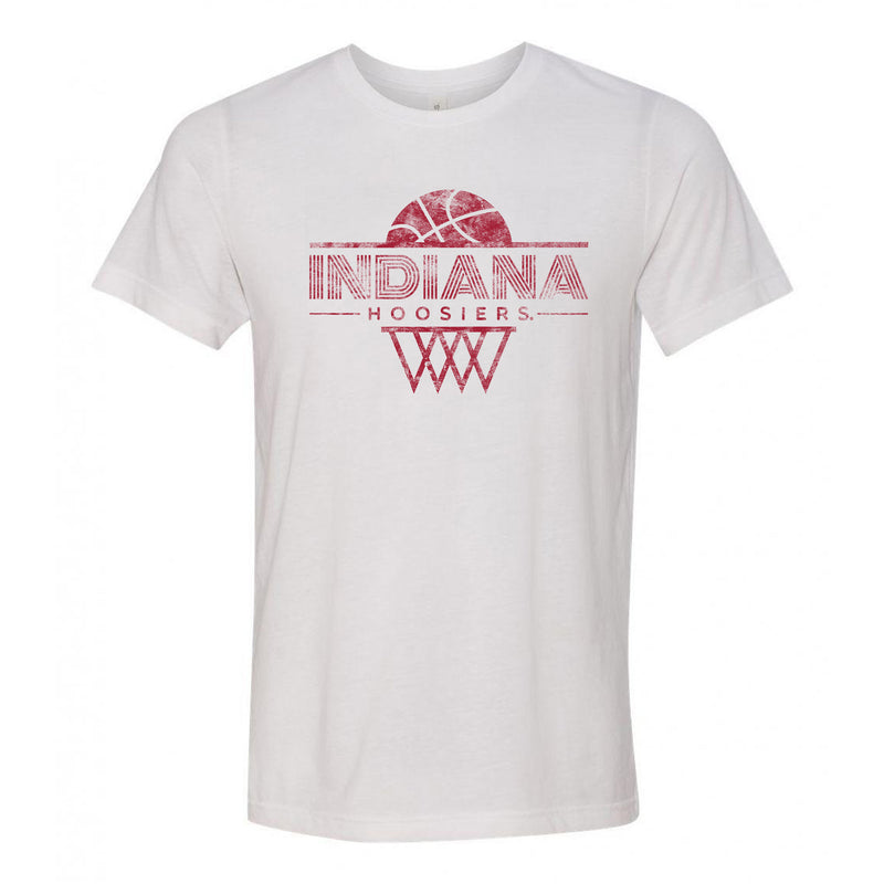 Indiana University Hoosiers Oblique Hoop Canvas Triblend Short Sleeve T-Shirt - Solid White