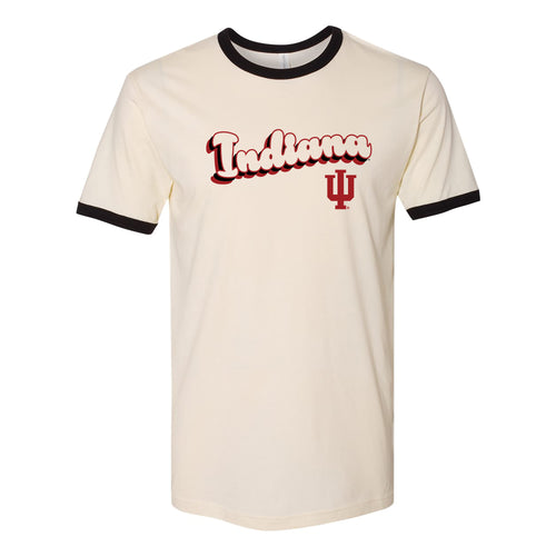 Indiana University Hoosiers Groovy Script Logo Ringer T Shirt - Natural/Black